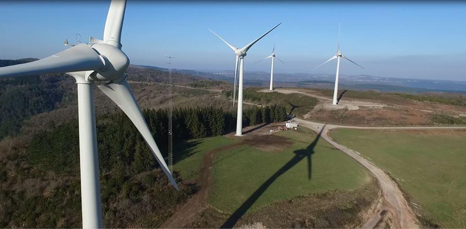 Inspection de parc éolien en vue aérienne par drone