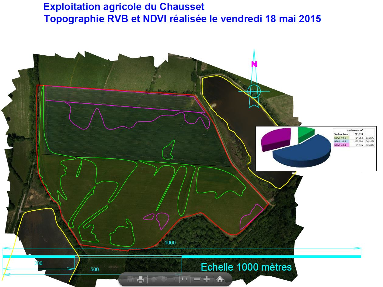 Photo de cartographique des résultats NDVI exploitation agricole
