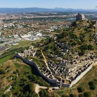 Le château de Crussol, photographie aérienne par drone