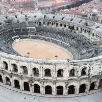 Les arènes de Nîmes photographiée par un drone