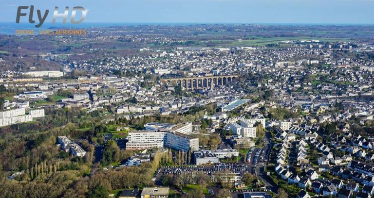 Morlaix en Bretagne photographié par un drone