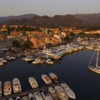 Photo aérienne d'un port de plaisance en Corse