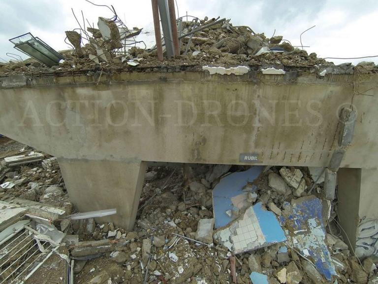 photo aérienne de chantier de démolition par drone