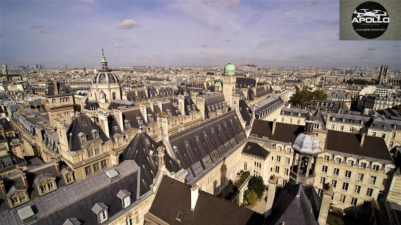 Photo aérienne des toits du quartier de la Sorbonne à Paris