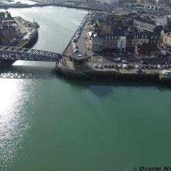 Photo aérienne du pont Colbert dans le port de Dieppe