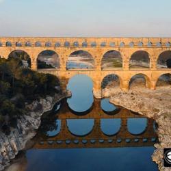 Photo aérienne du Pont du Gard en Languedoc-Roussillon