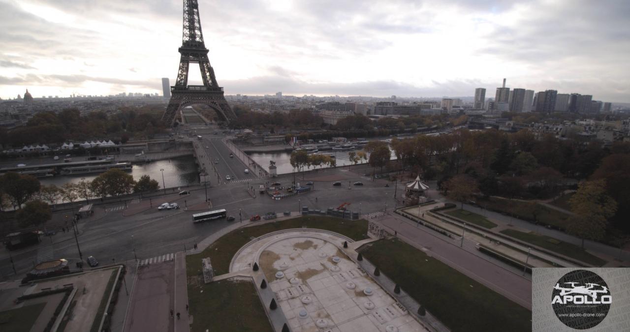 Photo aérienne par drone des Jardins du Trocadéro