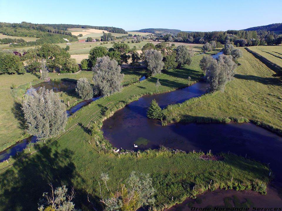 photographie aérienne paysage de campagne en Normandie