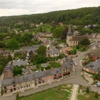 Photo par drone village du Bec-Hellouin en Normandie