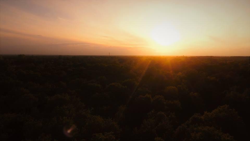 prise de vue aérienne paysage couché de soleil en Nouvelle-Aquitaine