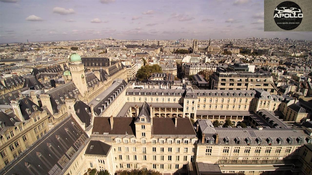 Prise de vue aérienne par drone du 5eme arrondissement Paris