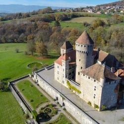 Vue aérienne château Haute-Savoie en région Auvergne-Rhône-Alpes