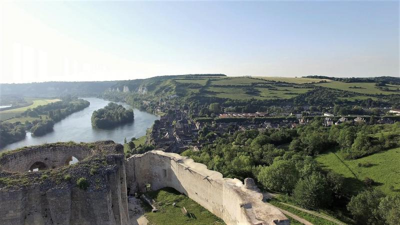 Château Gaillard dans le 27 Eure, en vue aérienne par drone