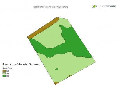 Carte apport azote en agriculture par drone