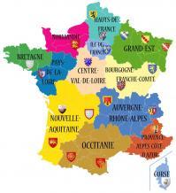 Carte des régions françaises de nos pilotes de drones