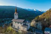 Eglise de landry en tarentaise photographiee d un drone