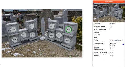 Emplacement et fiche urne funéraire