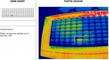 Image infrarouge pour rapport de thermographie aérienne panneaux photovoltaïques