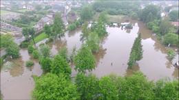 Inondation en image aérienne par drone pour expert en assurance