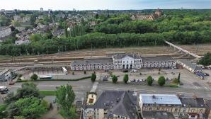 La gare d'Evreux en vue aérienne par drone