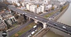 Le pont de Levallois photographie par un drone dans le ciel de Levallois Perret
