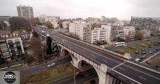 Le pont et la ville de Levallois Perret en photo aérienne par drone
