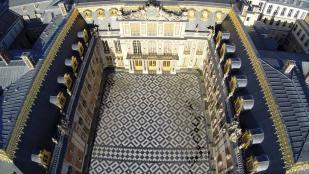 Paris vue aerienne cour interieure chateau