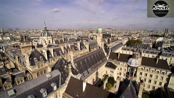 Photo aerienne des toits du quartier de la sorbonne a paris