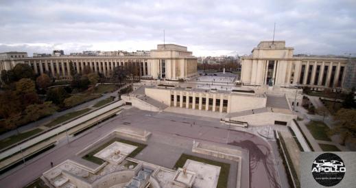 Photo aérienne par drone du palais Chaillot au Tocadéro