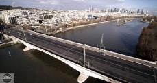 Photo aérienne par drone du pont de Suresnes