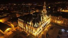 Photo aérienne par drone hôtel de ville de limoges photographié de nuit