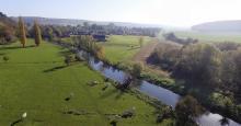 Photo aérienne par drone paysage de la campagne normande proche Evreux