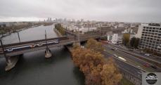 Photo aérienne pont ferroviaire sur la Seine a Asnières-sur-Seine