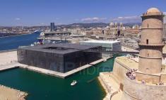 Photo de Marseille en vue aérienne le musée MuCEM