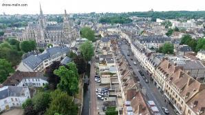 Photo Evreux centre et cathédrale par drone
