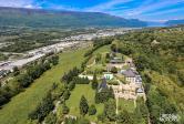 Photo par drone du chateau de candy sur les hauteurs de chambery en savoie