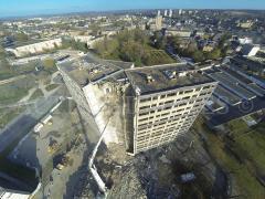 Photo pour reportage sur un chantier en vue aérienne par drone