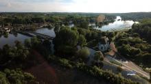 Photographie aérienne du cher en crue photographié par un drone