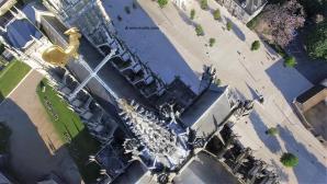 Photographie aérienne par drone coq cathédrale Evreux