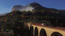 Photographie aérienne par drone du train des Pignes
