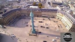 Place Vendôme photographiée par un drone dans le ciel de Paris
