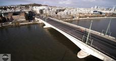 Inspection du pont de Suresnes en photo aérienne par drone