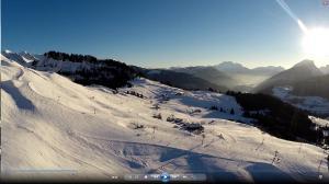 Vue aérienne avec un drone région montagne