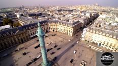 Vue aérienne de paris par drone professionnel, place Vendôme