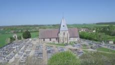 Vue aérienne cimetière et cite cinéraire