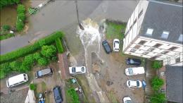 Vue aérienne d inondation filmée par drone