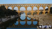 Vue aérienne par drone du pont du Gard