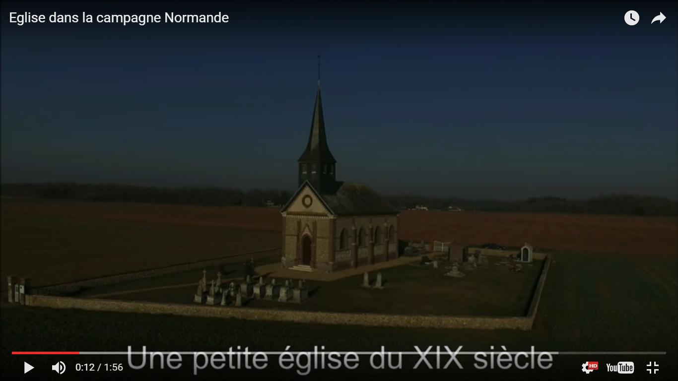 Vue aerienne eglise filmee par un drone