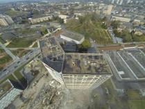 Vue aérienne inspection bâtiment par drone