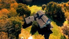 Vue aerienne maison dans les landes